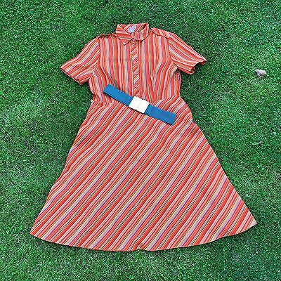 True Vintage Late 70's/Early 80's Striped Orange Retro Dress and Belt size M