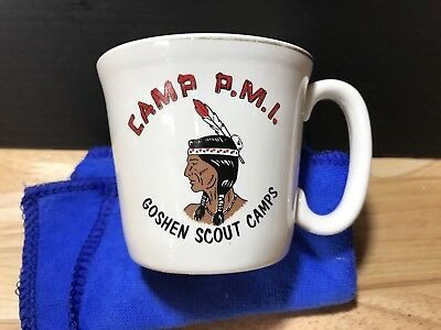 Vintage Boy Scouts BSA Coffee Cup Mug Goshen Scout Camps Camp PMI