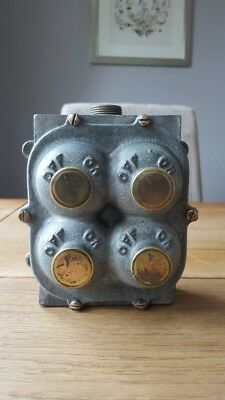 Vintage Flame Proof Cast Iron Light Switch 4 Gang Reclaimed Industrial Lighting