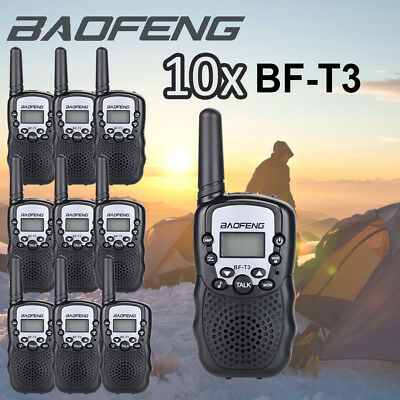 10x Walkie Talkie 8CH UHF400-470MHz 2-Way Radio Funkgeräte PMR 3KM LCD Intercom