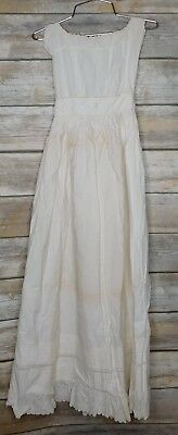 ANTIQUE 1800s VICTORIAN LONG EYELET SMOCKED INFANT CHRISTENING DRESS Embroidered