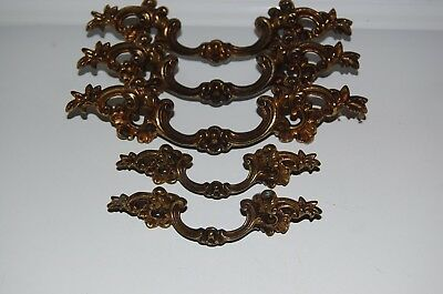 "Vintage Lot Of 5 KEELER ""French Provincial"" ORNATE Brass Drawer Pulls Handles"