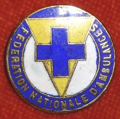 Badge Epinglette émaux enamel Fédération nationale d' Ambulance 2 cm diamètre