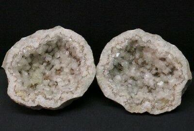 "Large 4.75"" Diameter Matching Brown and White Calcite Keokuk, Iowa Geode Pair"