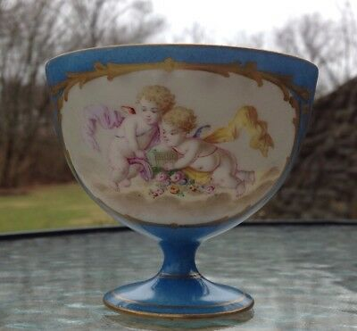 Sevres ? Porcelain Footed Hand Painted Blue Gold Portrait Cup Cherub