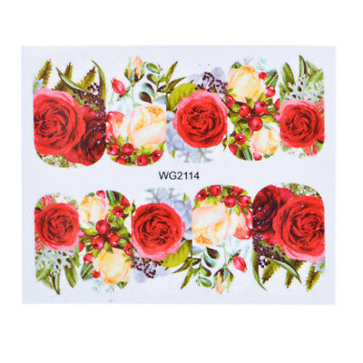 Red Rose Flower Beauty Nail Art Water Transfer Decals Decoration Stickers Tips