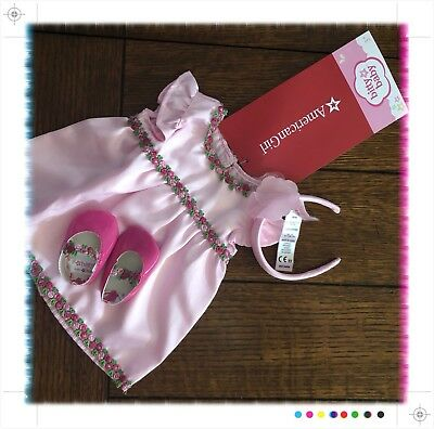 American Girl Bitty Baby Doll Doll Matching Pink Dress, Shoes & Headband NWT NEW