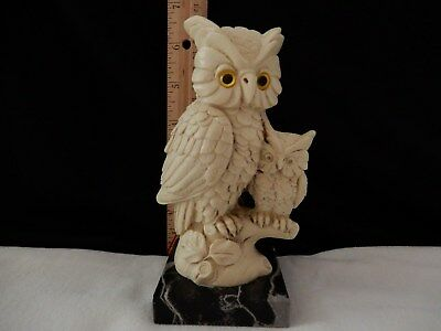 A Santini Owl with Baby Owl sculpture made in Italy signed