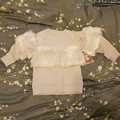 NWT New Carbon Soldier Sweater size 4 Girls Gray Fur Top