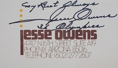 LAST CHANCE Jesse Owens autograph on business card 1936 Olympics original signed