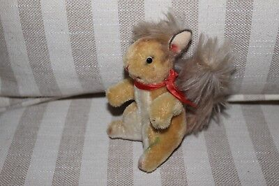 VINTAGE MOHAIR PLUSH SQUIRREL - GLASS EYES and NECK RIBBON