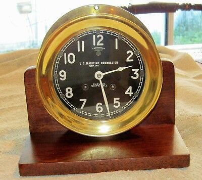 1945 Chelsea Ship's Bell Clock for US Maritime Commission.  EXC.COND., NR
