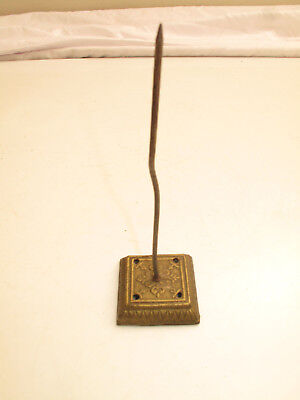 Antique Ornate Victorian Cast Iron Paper Bill Spike Holder Gold Color Wall Mount