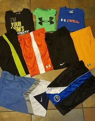 Boys youth under armour nike lot Shorts and tops Size Large YLG