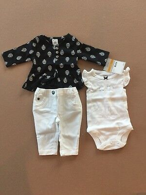 Carters Girl Baby Clothing 3 Piece Outfit New With Tags | Size New Born