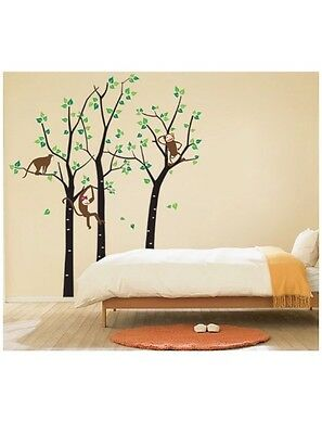 Removable Vinyl Art Wall Decals Mural for Nursery Room, Trees and Monkeys