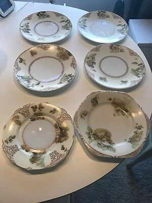 Vintage Silesia Porcelain Ohme Old Ivory Lot of plates & 6 sided scalloped plate