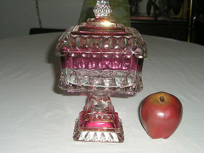 Vtg Indiana Glass Ruby Red Flash Compote Covered Candy Dish Square Pedestal Exce