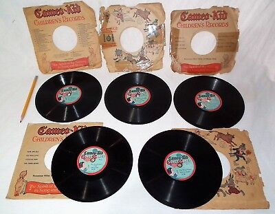 Rare Small Vintage Toy Cameo Kids 78 Rpm Phonograph Gramophone Player Records