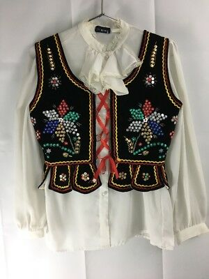 VINTAGE Spanish BULL FIGHTING MATADOR Style Sequins Vest Clothing Women's Velour
