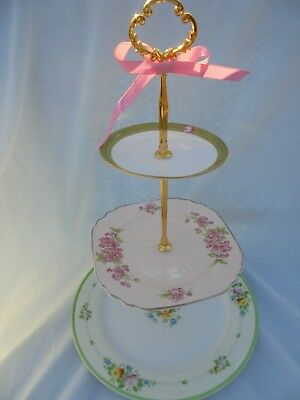WEDDING CAKE STAND Square Plate 3 Tier Serving Tray Vintage China Gift for Her