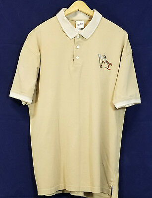 Warner Bros Studio Store Mens Wile E Coyote Golf Light Brown Polo Shirt Size L