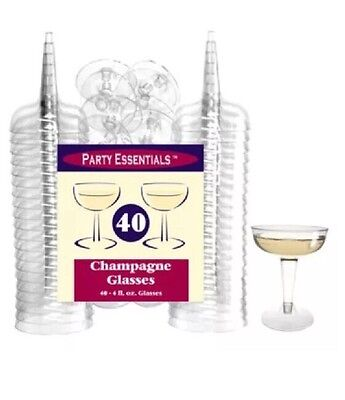 Party Essentials Hard Plastic Two Piece 4-Ounce Champagne Glasses,40-Count,4pck=