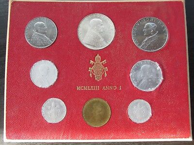 1963 Anno I Vatican City Mint Set w/Silver 500 Lire