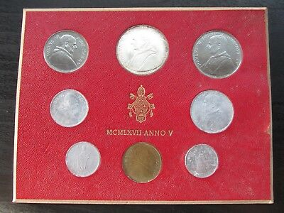 1967 Anno V Vatican City Mint Set w/Silver 500 Lire