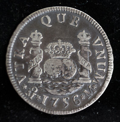 Rare 1756 MEXICO Silver 2 REALES Gorgeous 2-Toned Contrast- Original XF