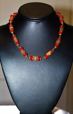 MAX NEIGER Art Deco Antique Egyptian Rev Red Glass Enamel Choker Necklace ND3
