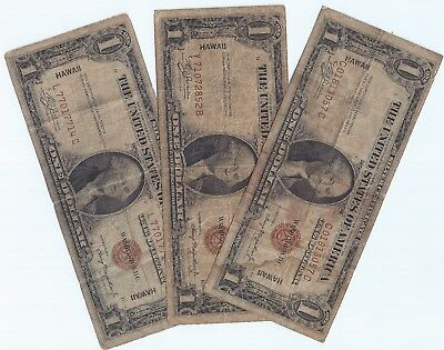 3 Notes....all $1.00 Hawaii...all With Better Block's...grade Fine.