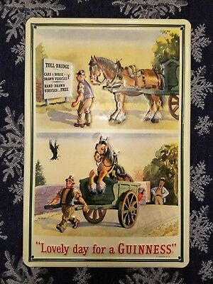"Guinness Horse & Cart Embossed Metal Sign 7.75""X11.75"" 20x30cm Irish Advertising"