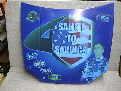 """Autographed Bobby Labonte Millitary Tribute Metal Race Car Hood 29""""x26"""" SIGNED"""