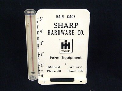 Vintage International Harvester IH Sharp Hardware Milford Warsaw IN Rain Gauge