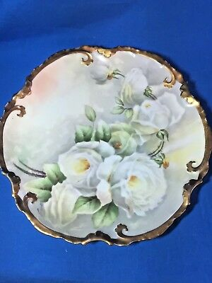Coronet LImoges china hand painted artist signed White Roses plate