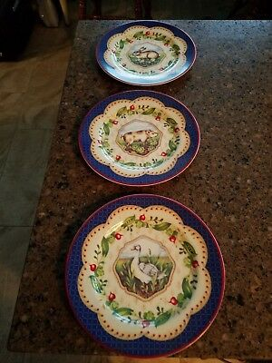 (3) French Country/Cottage-Salad Plates-Le Jardin-Suzanne Nicoll-Andrea by Sadek