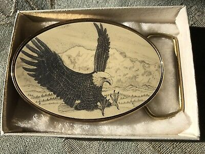 Vintage Barlow Scrimshaw Art Belt Buckle Eagle Landing Solid Brass