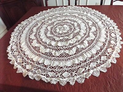 "Antique Round Lace Tablecloth 40"",  Hand Made Floral & Butterflies"