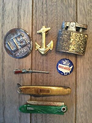 Small Lot Vintage US Army Military Pins Lighter Folding Blade NR