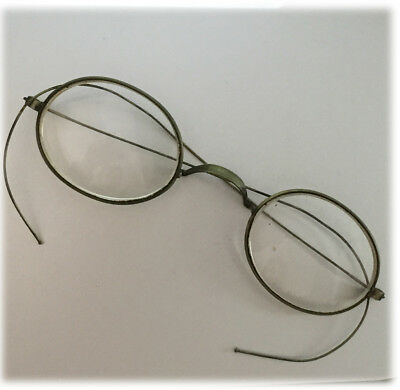 Antique Eye Glasses Brass Colored Wire Spectacles Early 1900s Oval Lenses