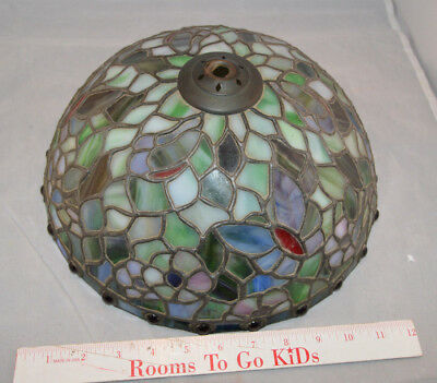 Tiffany Style Leaded Stained Glass Dome Lamp Shade - Butterfly & Flowers - 12 in