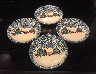 "Set of 4 Folk Craft Cabin in the Snow Luncheon Plates 7 5/8"" Tienshan Christmas"