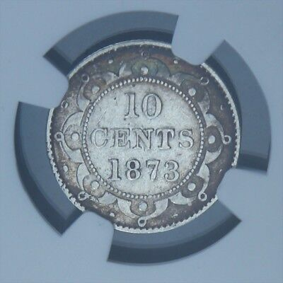 1873 Newfoundland Nfld 10 Cents Ngc Graded Vf -Rotated Die 22° -Only 20K Minted