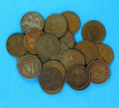 LOT OF 25 NEWFOUNDLAND 1947 SMALL CENT COPPER PENNYS -half roll