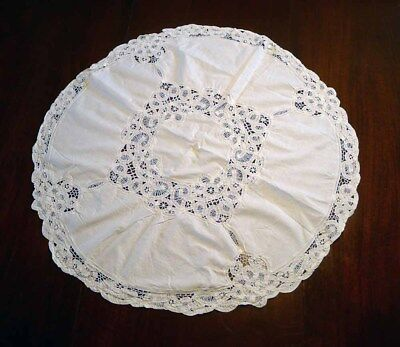 Vintage Round Crochet Tablecloth 30 inches in Diameter