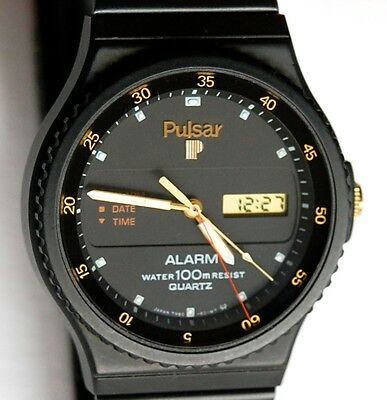 Vintage Mens New Old Stock Pulsar Seiko Ana Digi Alarm Dive Watch Y960 601M Lcd
