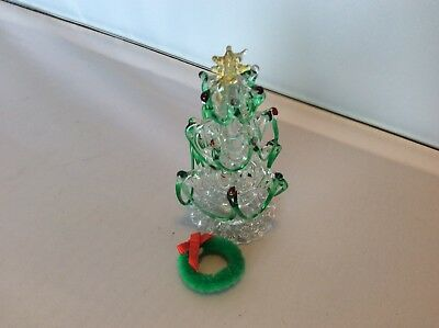 "Hand Spun Glass Christmas Tree Clear Green And Red Collectible 3"" Tall"