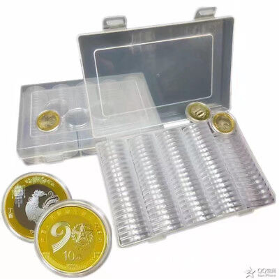 100pcs 27mm Round Cases Coin Capsules Holder With Storage Box Container Plastic`