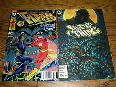 LOT of 2 DC Comic Books Swamp Thing 1992 and The Flash 1991 Classic Comics